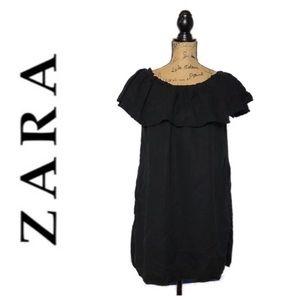 Zara Women Ruffle Black Dress EUC